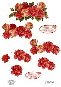 Free  Roses decoupage