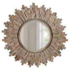 Sunburst Round Mirror Natural/white - Add a stylish touch to any room with this Sunburst Round Mirror. The distressed wood made of combined wood chips is a great focal point and adds a rustic flair to your space. Mirror Bed, Entryway Mirror, Oval Mirror, Round Mirrors, Entryway Decor, Cottage Wall Mirrors, Home Decor Mirrors, Nursery Bedding Sets Girl, Bedding Master Bedroom