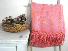 Pink damask blanket throw coverlette by frenchvintagedream on Etsy