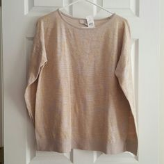 NWT Loft rose sparkle detail sweater size large! NWT and never worn!  Super cute with swirl/sparkle detail throughout.  Size large. LOFT Sweaters Crew & Scoop Necks