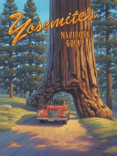 ART DECO NATIONAL PARK TRAVEL POSTERS | Stretched Canvas Mariposa Grove - Yosemite Travel Poster