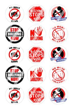 "No Bullying Bottle Cap 1"" Circle Images Sheet #1 (instant download or pre cut)"