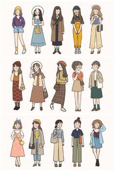 Cute Art Styles, Cartoon Art Styles, Cartoon Icons, Japon Illustration, Dibujos Cute, Korean Girl Fashion, Drawing Clothes, Aesthetic Stickers, Cute Cartoon Wallpapers