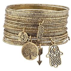 Lux Accessories Burnish Goldtone Tree of Life Boho Charm Bangle... (€7,51) ❤ liked on Polyvore featuring jewelry, bracelets, accessories, jewels, gold colored jewelry, goldtone jewelry, gold tone jewelry, boho bangles and charm bangle
