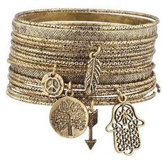 Lux Accessories Burnish Goldtone Tree of Life Boho Charm Bangle... (510 RUB) ❤ liked on Polyvore featuring jewelry, bracelets, jewels, bohemian jewellery, boho bangles, boho jewelry, bohemian jewelry and boho style jewelry