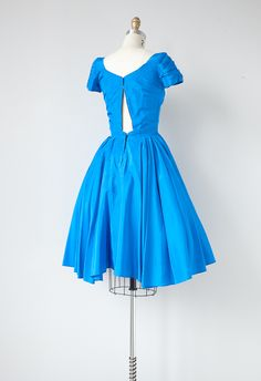 vintage 1950s blue silk party dress