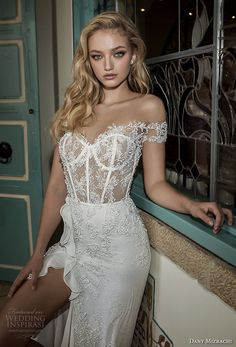 dany mizrachi spring 2018 bridal off the shoulder sweetheart neckline heavily embellished bodice busiter high slit skirt soft a  line wedding dress open back sweep train (3) zv -- Dany Mizrachi Spring 2018 Wedding Dresses