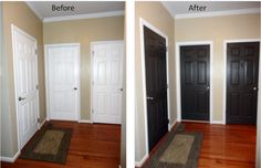 LOVE the dark interior doors. The paint was Valspar (from Lowes) in satin finish. The color is Waverly Home Classics, Bark – WV42001