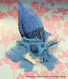 Harris Tweed Brooch In Blues, with a Canvas Twist, and blue felt birdie. . £10.95