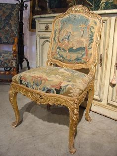 Circa 1800 French Giltwood And Tapestry Chair from Le Louvre French Antiques on Ruby Lane