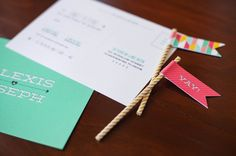 Oh So Beautiful Paper: Alexis + Joseph's Modern Hearts and Arrows Wedding Invitations