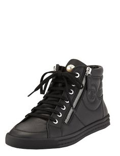 #CHANEL Lace-Up Leather High-Top Sneakers