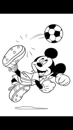 Mickey Soccer Coloring Page