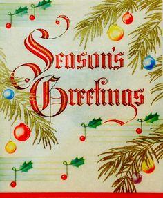 Season's Greetings. Vintage Christmas Card. Retro Christmas Card.