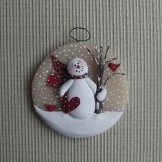 """Paper heart ~ 3"""" hand formed translucent round snowman ornament by JessiesCornerClay on Etsy"""