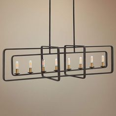 This handsome, contemporary island chandelier features eight lights set within four buckeye bronze geometric forms. wide x high. Comes with of lead wire. Style # at Lamps Plus. Industrial Chandelier, Industrial Light Fixtures, Contemporary Chandelier, Pendant Chandelier, Chandelier Lighting, Light Pendant, Dining Lighting, Over Sink Lighting, Kitchen Island Lighting