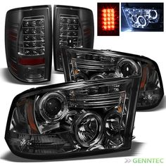 For Smoked 09-14 Dodge Ram Halo LED Projector Headlights+LED Tail Lamp Lights