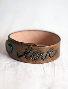 Embroidered & Distressed Skinny Leather Cuff