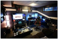 Cool Gaming Rooms For Guys - Best Video Game Room Ideas: Cool Gaming Setup Desig. Cool Gaming Rooms For Guys - Best Video Game Room Ideas: Cool Gaming Setup Designs, Gamer Room Decor, and Apartment Decorating Ideas - Bedroom, Living Room, Small Room Best Gaming Setup, Gaming Room Setup, Gaming Rooms, Pc Setup, Gamer Setup, Computer Room Decor, Gaming Computer Setup, Computer Desks, Desk Setup