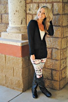 Adorable winter outfit with fancy pants tights.