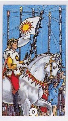 Six of Wands - Robin Wood Tarot Divination Cards, Tarot Cards, Tarot By Cecelia, Robin, Condoleezza Rice, Rod And Staff, Travis Barker, Online Tarot, Cartomancy