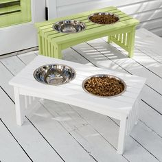 Raised Dog Feeder - This keeps our dog from having a swim in her water bowl!