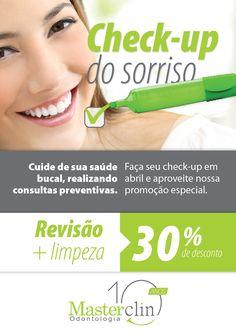 Campanha desenvolvida pela Agência Conceito para o cliente Masterclin Odontologia. Material de circulação interna da clínica, destinada aos pacientes.