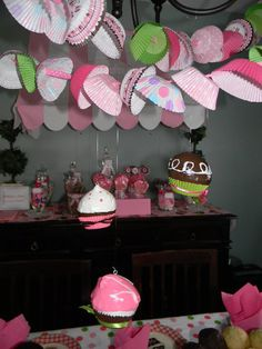 """Cupcake liners over white christmas lights strung up Photo 1 of Cupcake Decorating Party / Birthday """"Meghan's Birthday"""" Cupcake Decorating Party, Cupcake Party, Birthday Cupcakes, Cupcake Garland, Baking Birthday Parties, First Birthday Parties, First Birthdays, Baking Party, 12th Birthday"""