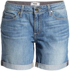 Borrowed from the boys, these slouchy denim shorts from Paige offer effortlessly cool new-season style Classic five-pocket styling, distressed detailing, rolled hem Oversized fit Pair with a striped long sleeve tee and ankle boots 100% Cotton #Paige #Shorts #blue