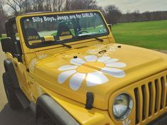 First Daisy Jeep, just loving what are customers do with their stickers : )) her. - First Daisy Jeep, just loving what are customers do with their stickers : )) here is the page they - Wrangler Jeep, Yellow Jeep Wrangler, Jeep Wranglers, Jeep Wrangler Unlimited, Pink Jeep, Auto Jeep, Jeep Jeep, Jeep Truck, Jeep Stickers
