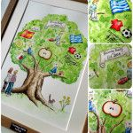Watercolour family tree - Let me know all about you and your family and I can paint you a highly personalised family tree. You can have caricatures of family members or just a symbol for the person. Things to include could be places you have visited, song lyrics, band logos, football teams, hobbies, favourite toys, pets.  The image size is A4 and is suitable for up to 6-8 family members.  #familytree #watercolour #personalised #gift