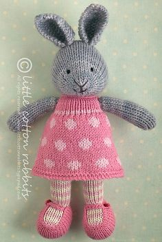 How adorable! In my que for toys this make this year. Toy knitting pattern for a bunny rabbit girl in a dotty dress Animal Knitting Patterns, Crochet Patterns, Knitted Dolls, Crochet Toys, Easter Toys, Easter Bunny, Little Cotton Rabbits, Knitted Animals, Arm Knitting
