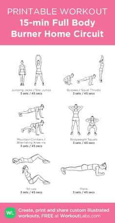 15-min Full Body Burner Home Circuit–my custom exercise plan created at WorkoutLabs.com • Click through to download as a printable workout PDF #customworkout