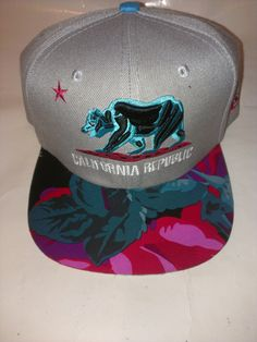 California Republic custom brim snapback hat floral Snapback. $34.99, via Etsy.