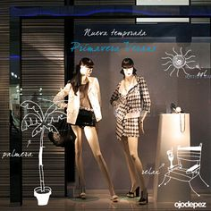 Vinilo Primavera Verano 017: Vinilos decorativos Primavera Verano Vinilos adhesivos vidrieras escaparates show window Window Display Wall Art Stickers wall stickers