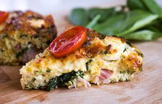 Baked omelette with siglino and spinach - Eat Yourself Greek Baked Omelette, Mediterranean Diet Pyramid, Mediterranean Dishes, Greek Cheese, Greek Dishes, Summer Dishes, Smoked Pork, Greek Recipes