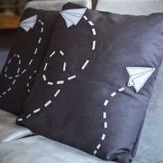 Hand-sewn Paper Airplane Graphics Pillows