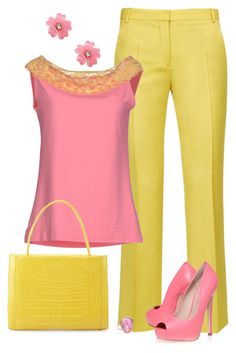 A fashion look from September 2016 featuring lace top, yellow pants and platform shoes. Browse and shop related looks. Business Casual Outfits, Classy Outfits, Stylish Outfits, Beautiful Outfits, Look Fashion, Girl Fashion, Fashion Dresses, Womens Fashion, Pink Dress Outfits