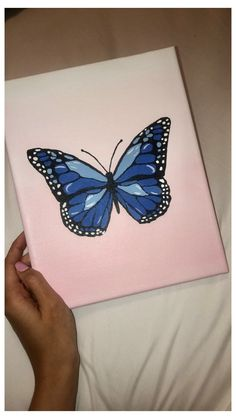 Simple Canvas Paintings, Easy Canvas Art, Small Canvas Art, Mini Canvas Art, Easy Canvas Painting, Cute Paintings, Butterfly Painting Easy, Canvas Painting Projects, Canvas Crafts