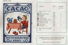 0 point de croix grille et couleurs de fils étiquette cacao, petit gourmand