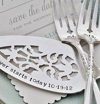 Mr. & Mrs. WEDDING Cake forks with Forever Starts Today (TM) Personalized Vintage Wedding Cake Server - Hand Stamped SET