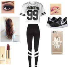 Got 99 problems but beauty ain't one by purplepoponedirection on Polyvore featuring polyvore, fashion, style, NIKE and Casetify