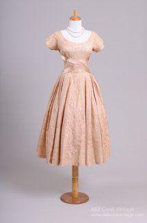 1950's Blush Lace Vintage Party Wedding Dress