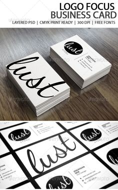 "Logo Focus Business Card #GraphicRiver Hello! Thank you for purchasing the business card. This card is easily editable. Just make edits in the text and send it to print. About the card : A black and white business card which stresses focus on your logo. A minimalist design which gives a sophisticated feel Free Fonts CMYK Colors 300 DPI 3.5"" x 2"" (3.75"" x 2.25"" with bleeds) Fully Editable Files Print Ready Files Very easy to use Files Includes"