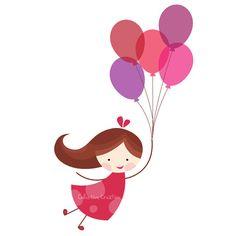 Balloon Girl Digital Clip Art Set Personal by CollectiveCreation