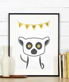 Retro poster  lemur Madagascar animals  vintage by EmuDesigns