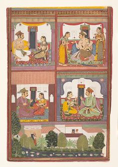 Four Love Scenes and a Landscape: Page from a Dispersed Raskapriya, ca. 1700. The Metropolitan Museum of Art, New York. Rogers Fund, 1953 (53.33)