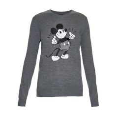 """MARKUS LUPFER Thumbs Up """"Ok"""" sequinned-Mickey sweater ($420) ❤ liked on Polyvore featuring tops, sweaters, grey, knitwear, grey top, grey sweater, sparkly tops, mickey mouse sweater and star print top"""