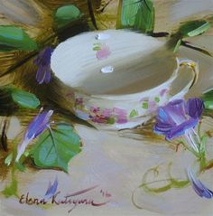 """September Teacup"" - Original Fine Art for Sale - © Elena Katsyura. Such talent"