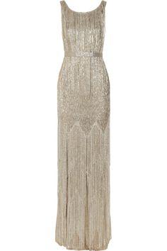 Oscar De La Renta Beaded metallic silk-blend gown